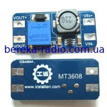 Перетворювач DC-DC повишаючий на MT3608 (Uвх=2-24V, Uвих=2-28V, Iвих=2A, 36x17x14mm)
