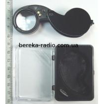 Лінза з підсвіткою 2led 40x25mm чорна MG21011