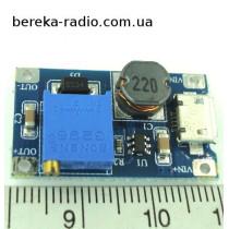 Перетворювач DC-DC повишаючий на MT3608 micro USB (Uвх=2-24V, Uвих=2-28V, Iвих=2А, плата 36х17х14мм)