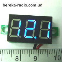 Вольтметр без корпусу 0.36`` DC 4.5-30V синій, 3-х цифр. інд.