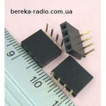 PBS-4R=DS1024-1x4R=ZL263-4SG гніздо однорядне 4 pin кутове, крок 2.54mm