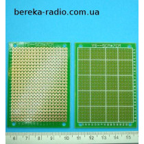 Плата макетна одностороння 50x70x1.0mm FR4, п`ятачки з отворами, з маскою, крок 2.5mm, покрита флюсо