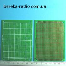 Плата макетна одностороння 70x90x1.6mm FR4, п`ятачки з отворами, з маскою, крок 2.5mm, покрита флюсо