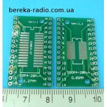 Плата макетна двохстороння SOIC-SSOP28, адаптер на  DIP-28 з металізацією і маскою