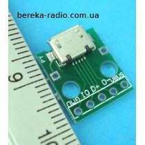 Плата перехідник micro USB на DIP (5 контактів, крок 2.54mm), 16x14x1mm, двохстороння з маскою