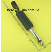 Штекер 6.3mm моно, пластиковий корпус