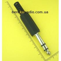 Штекер 6.3mm стерео, пластиковий корпус