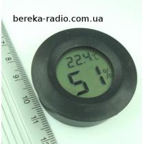 Термометр-гігрометр 0.56`` LCD (круглий чорний корпус)