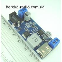 Перетворювач DC-DC понижаючий Uвх=9-36V, Uвих=5V, Iвих=5A, XY-3606, USB A, 63x27x13mm