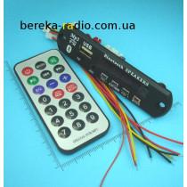 MP3 плеєр + FM + блютуз з пультом, 7-12V, панель 105x24mm, USB A, підтримка  диску до 32Г, слот TF,