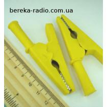 Зажим крокодил L=80mm пластиковий жовтий