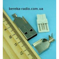 Штекер USB тип A розбірний, під шнур, без корпусу