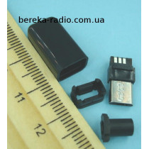 Штекер micro USB 5pin, під шнур, бакеліт, чорний