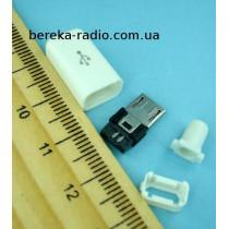 Штекер micro USB 5pin, під шнур, бакеліт, білий