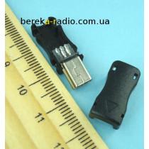 Штекер mini USB 5pin, під шнур, пластик