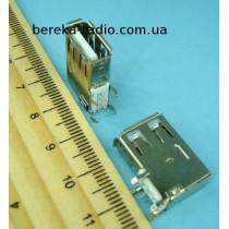 Гніздо USB тип A, монтажне, кутове, довге