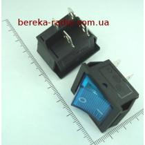 Перемикач клавішний IRS201-1A широкий, синій з підсвіткою, 4 pin, 15A/250VAC