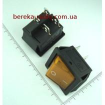 Перемикач клавішний IRS201-1A широкий, жовтий з підсвіткою, 4 pin, 15A/250VAC