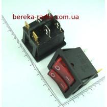 Перемикач клавішний IRS2101-1A подвійний, червоний з підсвіткою