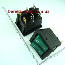 Перемикач клавішний IRS2101-1A подвійний, зелений з підсвіткою