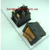 Перемикач клавішний IRS2101-1A подвійний, жовтий з підсвіткою