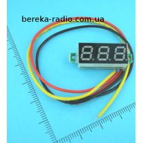 Вольтметр без корпусу 0.28`` DC 0-100V зелений, 3-х цифр. інд.