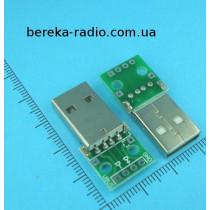 Плата перехідник штекер USB-A на 4 контакти
