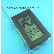 Термометр-гігрометр FY-11 LCD (прямокутний чорний корпус)