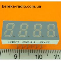 228  4-х цифр. інд, 0.3``, зелений, СпК, динамічна індикація, сірий фон, KEM-3241-AG