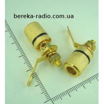 Гніздо банан монтажне GOLD чорне метал VK10552 BL