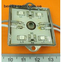 Світлодіодний модуль 4x3528 синій вологозахисний самоклеючий, 12V, 40mA, 36x36x4.4mm