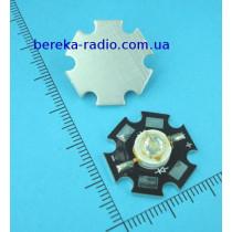1101 Св. 3W, S серії, зелений 527 nm, 120 lm, 150*, з радіатором, 4В/0.7А, 5ER103TXS0010001