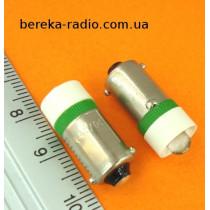 Контролька LED B9/12/G 12V AC/DC зелена 2200mcd