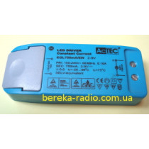 Драйвер LED 6W, Uвх=100-240V, Uвих=2-9V 700mA, AcTec (в корпусі, 98х39х22mm)