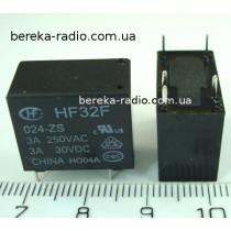 HF32F-024-ZS (3A, 24V, SPDT, coil power 450mW, 18.4x10.2x15.3)