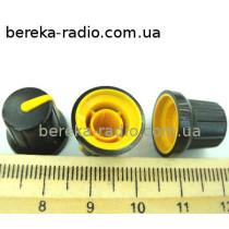N-4 ручка на вісь 6мм чорна з жовтим