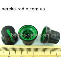 N-4 ручка на вісь 6мм чорна з зеленим