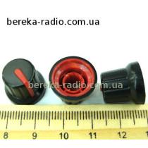 N-4 ручка на вісь 6мм чорна з червоним