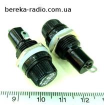 Тримач запобіжника 5x20mm (FUSE), 10A, чорний (VK11288)