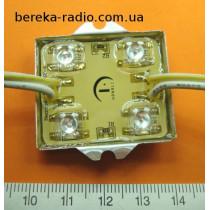 Світлодіодний модуль 112*4 жовтий самокл. вологозах. 3.8x3.67x0.65sm, 12V, 40mA
