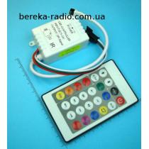Контролер для піксельної RGB стрічки WS2812B DC 5-24V з пультом (24 кнопки, 200 програм)